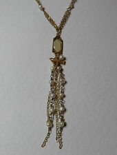 Short dark gold plated NECKLACE With Freshwater Pearls Dragonfly & tassel CREAM