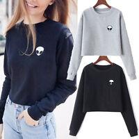 Women Lady PulloverCasual Long Sleeve Tee Blouse Crop Top Alien Print T-Shirt CA