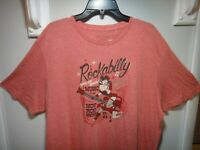 Lucky Brand Los Angeles ca. Mens T-Shirt Rockabilly Music Color Lite Red 2XL