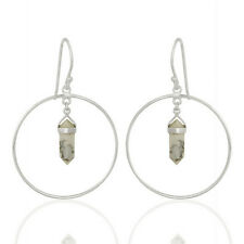 Pencil Terminated Howlite Hoop Earrings 925 Silver Gemstone Womens Jewelry
