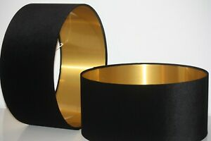 Lampshade, Black Velvet with Brushed Copper or contrast Lining
