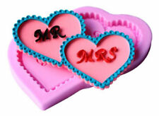 Mr and Mrs Hearts Wedding Silicone Mold Fondant Gum Paste Chocolate Craft
