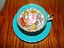 AYNSLEY BONE CHINA CUP AND SAUCER HAND PAINTED ROSES