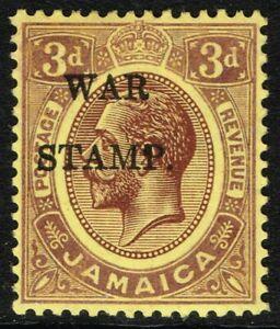SG 75 JAMAICA 1917 WAR STAMP - 3d PURPLE/YELLOW - MOUNTED MINT