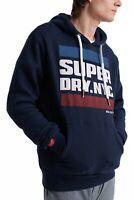 Superdry NYC Tab Logo Overhead Hoodie Sweatshirt Hooded Sweat Top Rich Navy