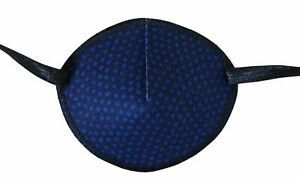 Medical Adult Eye Patch - Dark Blue Dots - Soft Washable sold to NHS