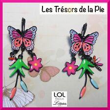 Boucles d'oreilles LOL BIJOUX - Papillon, fleurs & libellule - Rose - LOLILOTA