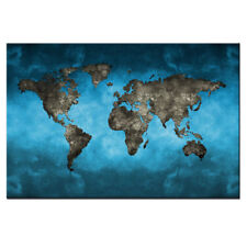 Blue World Map Canvas Print Wall Art Modern Abstract Global Map Painting Large