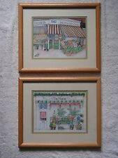 2 SMALL, FRAMED, SHOP PRINTS BY FIONA BUTLER – FLORIST'S AND GREENGROCER'S SHOPS