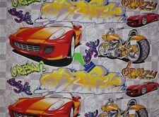 Baumwollstoff Crazy cars und bikes Rennwagen  ab 63cm x 1,50m