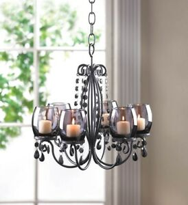 Elegant Candle Chandelier Hanging or Tabletop w/ Tinted Glass Cups, Beads