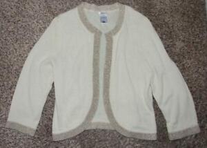 OLD NAVY Light Beige Sparkly Gold Trim Jr Large 9 / 10 Sweater Shrug CLEARANCE