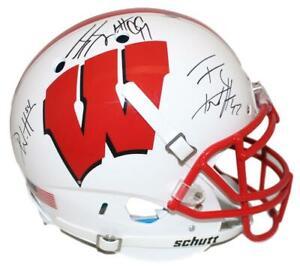 JJ Watt TJ Watt & Derek Watt Signed Wisconsin Badgers Authentic Helmet JSA 28999