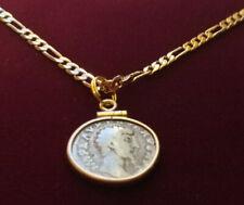"Ancient Coin Biblical Silver Roman Denari Pendant w 22"" 18k Gold Filled Chain"