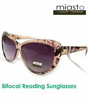 MIASTO VINTAGE BIG CAT EYE READER READING SUN GLASSES+2.00 LARGE (BIFOCAL)