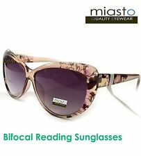 MIASTO VINTAGE BIG CAT EYE READER READING SUN GLASSES+3.25 LARGE (BIFOCAL) BROWN