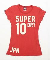 Superdry Womens Size S Cotton Red Top (Regular)