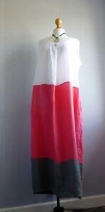 Eden Rock Lagenlook Colour block long Linen dress UK14 VGC