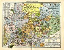 El noroeste de Alemania 1789 con rico caballero-zonas mapa histórico de 1899