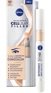 Nivea Hyaluron CELLular Filler 3in1 Augenpflege Concealer 02Mittel, NEU OVP