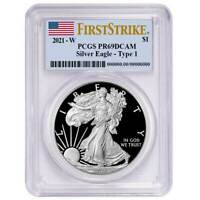 Presale - 2021-W Proof $1 American Silver Eagle PCGS PR69DCAM First Strike Flag