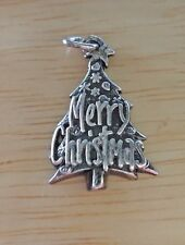 Sterling Silver 23x15mm Merry Christmas on a Tree Charm!