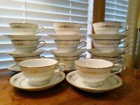 ELEVEN NORITAKE CHINA GOLDCOURT 6843 TEA/COFFEE CUPS & SAUCERS SOLD INDIVIDUALLY