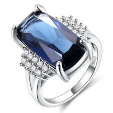 925 Sterling Sliver Crystal & Sapphire Zircon Princess Ring Engagement Ring