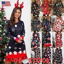 Womens Christmas Ladies Xmas Party Swing Costume Girls Santa Claus Mini Dress US