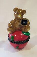 September Calendar Bear on Apple Porcelain Hinged Box Midwest of Cannon Falls