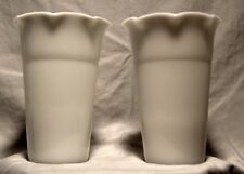 Pair of Vintage 1950 Anchor Hocking Ribbed, Fluted White Milk Glass Vases