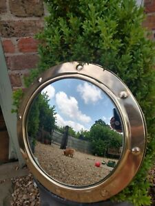 Vintage Retro Round Brass Mirror Convex Ship Porthole Fish Eye