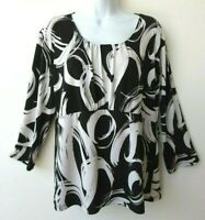 CHICO'S Top Black Cream Blouse Sz 2 Stretch Jersey Pullover No Wrinkle EasyCare