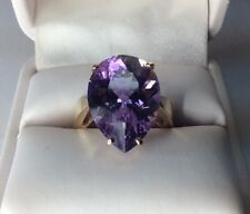 Large Pear Shape Amethyst 10k Gold Ladies Ring (J308)