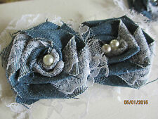 New listing 5 Assorted Denim and Lace Fabric Roses, Denim Fabric Roses, Denim Bouquet Flower