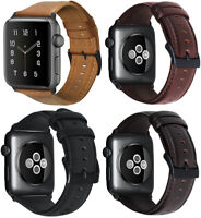 For Apple Watch Series SE 6/5/4/3/2/1 Premium Genuine Leather Watch Strap Band