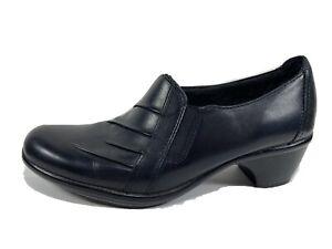 Clarks Black Leather Comfort Clogs Womens 6.5 M
