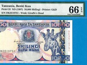 TANZANIA-10000 SHILINGI-1997-PICK 33-SERIAL NUMBER 3510751**PMG 66 EPQ GEM UNC**
