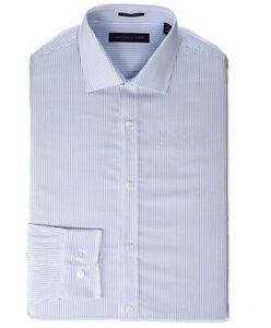 Tommy Hilfiger Men's Dress Shirt Slim Fit Stretch Stripe Blue 17.5 / 34-35 XL