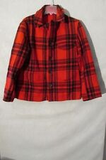 S6577 Vintage 1950's North Country Men's Md Est Red Plaid Mackinaw Jacket