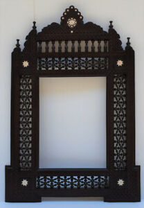 Handmade Brown Wood Wall Hanging Decorative Mirror Frame , Moroccan Home Decor