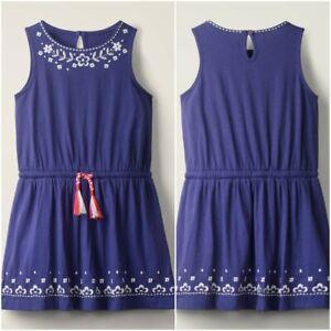 Mini Boden Embroidered Tie-waist Dress, Indigo Blue Was £35 Now £12.99