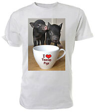 I love Teacup Pigs T shirt, Micro Pigs - Choice of size & colour!