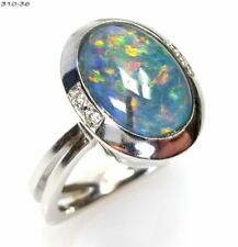 Ring Cocktailring Statement Opal Diamanten - 585 Gold Weißgold - 310-36