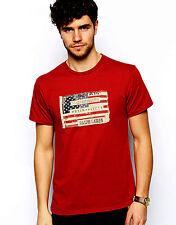 Ralph Lauren Homme Sailor T-shirt rouge avec Drapeau Américain Patch-Taille XL-NEUF