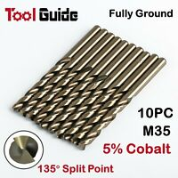 1-13mm 10 PC Metric HSS Drill Bit, Set M35 5% Cobalt Drilling on Stainless Steel