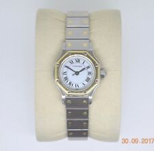 Ladies CARTIER - A Santos Wrist Watch. Stainless With 18ct Yellow Gold Automatic