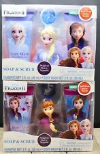 Pack of 2 FROZEN ANNA AND ELSA SOAP & SCRUB MAGICAL BERRY SCENT ~ NEW ~ 3+