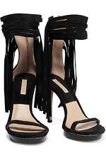 Michael Kors Collection Daphne Fringe Platform Sandals Black Size 38,5 New