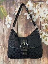 COACH Black SOHO Duffle Jacquard Leather Trim Purse HandBag Shouder Bag 23164E